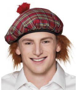 Billig skotskternet rød hat med hår