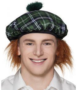 Billig skotskternet grøn beret med hår