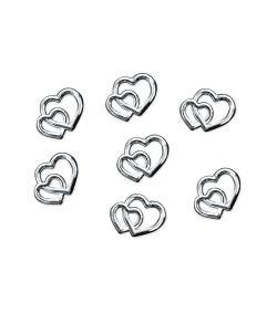Flotte sølvfarvet hjertekonfetti til bryllup og konfirmation.