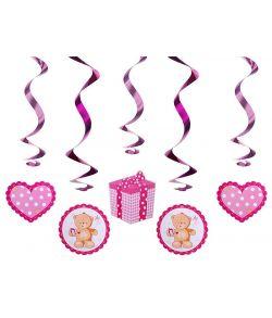 Køb 5 stk pink spiraler med vedhæng til barnedåb og babyshower.