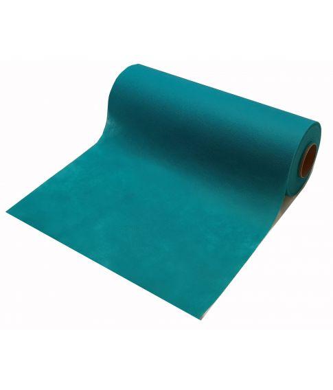 Jadegrøn bordløber i lettere transparent papir uden perforeringer.