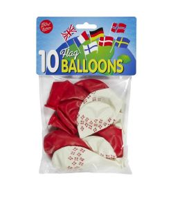 Flotte balloner med danske flag.