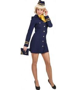 Flot Stewardesse kostume med kjole, hat og tørklæde.