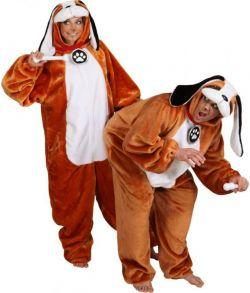 Blødt Sanktbernhard hundekostume, plyds jumpsuit med hætte.