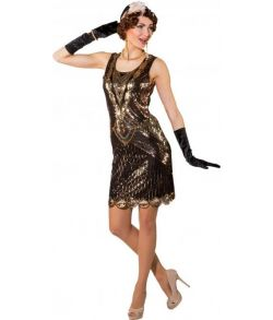 Flot Charleston paillet kjole med pailletter i kobber, guld og sølvfarve.