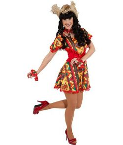 Flot Mexicansk kjole i flotte farver og matchende armbånd.
