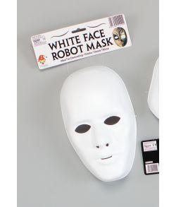 Hvid herre maske i tyndt plastik med elastik.