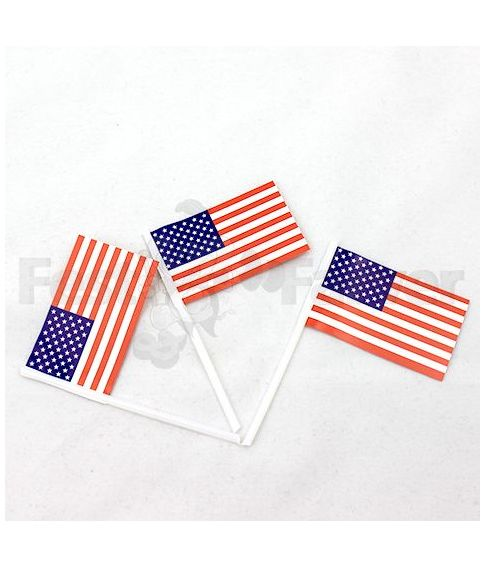 Flotte kageflag med det Amerikanske flag, 100 stk.