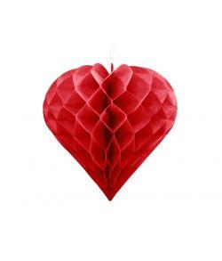 Flot hjerte i rød papirvæv til f.eks. bryllupsfesten eller valentins dag