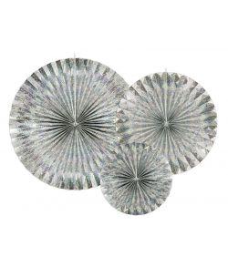 3 stk. flotte dekorative rosetter i sølv holografisk