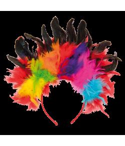 Flotte fjer i regnbuens farver på hårbøjle.