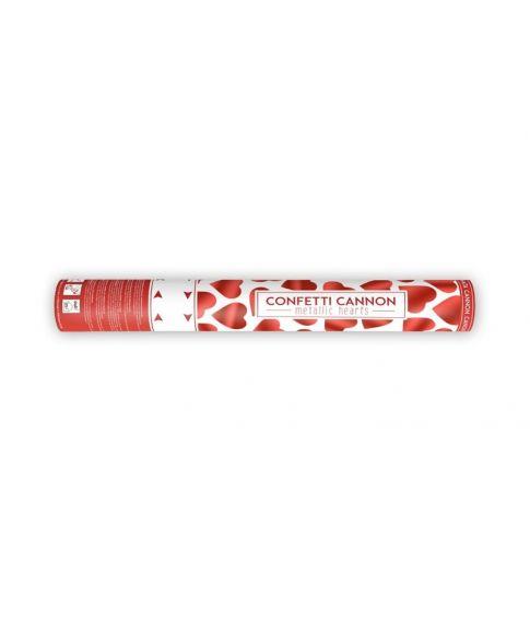 Festlig konfetti kanon med hjerter, 40 cm.