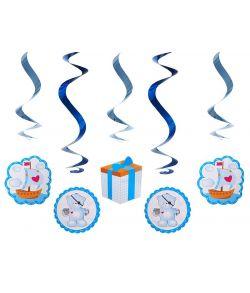 5 stk. søde pastelblå loftspiraler med forskellige motiver