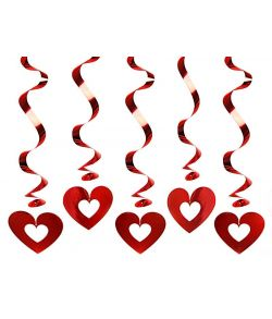 5 stk. flotte loftspiraler med hjerter til f.eks. valentins dag