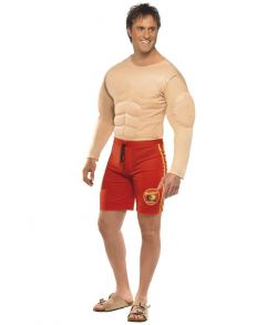 Sejt livredder kostume med muskeltrøje og shorts