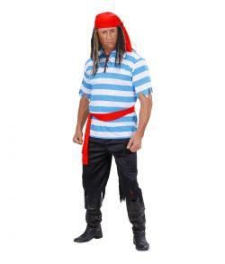 Pirat kostume med blå og hvid bluse, bukser, bælte og bandana.