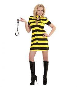 Flot fange pige kjole med sorte og gule striber