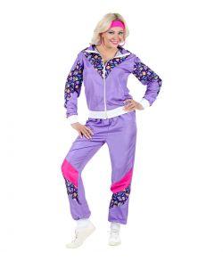 Flot 80er lilla Joggingdragt kostume.