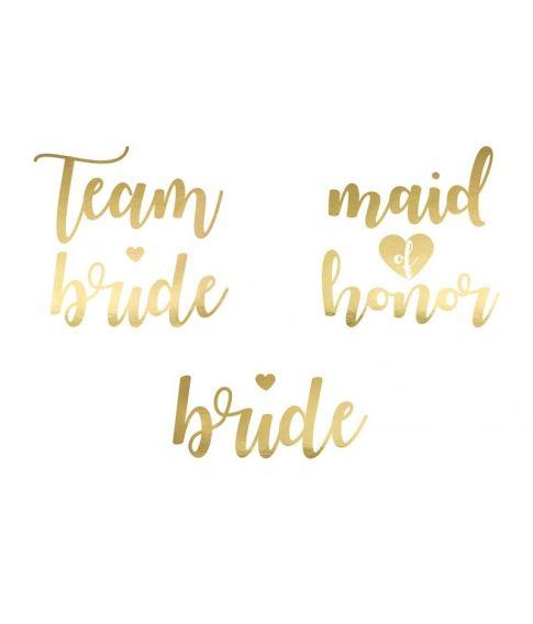 Bride tattoo sæt med guld tekst