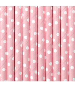 10 stk. flotte lyserøde sugerør med hvide prikker i papir