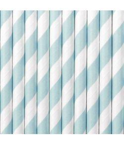 10 stk. flotte lys blå sugerør med hvide striber i papir
