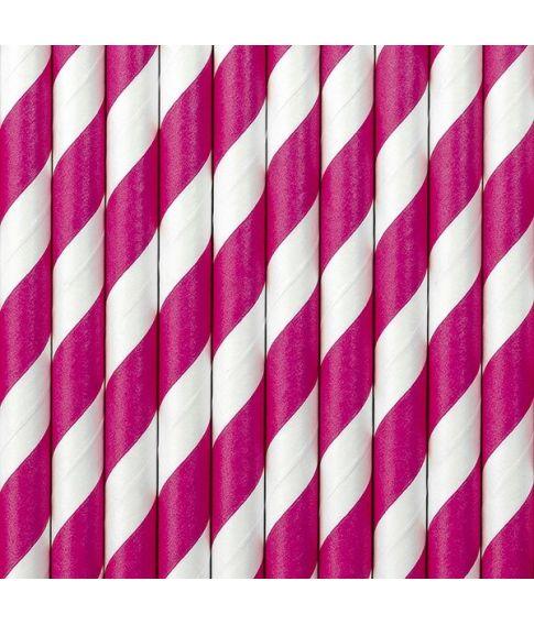 10 stk. flotte pink sugerør med hvide striber i papir
