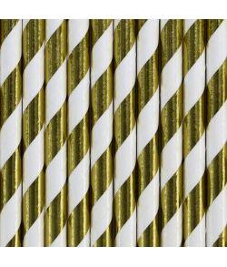 10 stk. flotte guld sugerør med hvide striber i papir