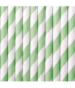 10 stk. smukke mint grønne sugerør med hvide striber i papir