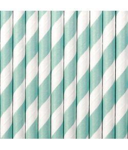 10 stk. flotte pastel grønblå sugerør med hvide striber i papir