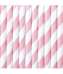 10 stk. flotte lyserøde sugerør med hvide striber i papir