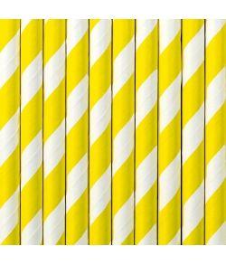 10 stk. flotte gule sugerør med hvide striber i papir