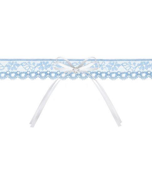 Flot lyseblåt blonde strømpebånd med sløjfe og perler