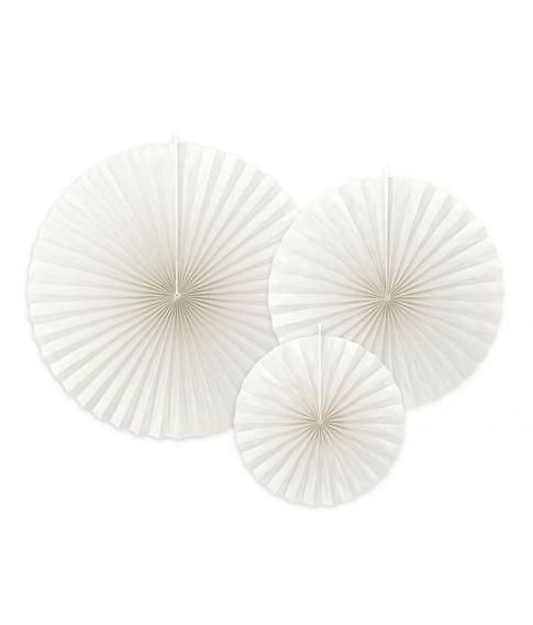 3 stk. flotte dekorative rosetter i off-white til ophæng