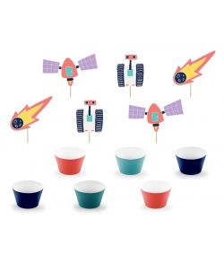Space cupcake sæt med 6 wrappers og 6 stk. sjov pynt, i pap.