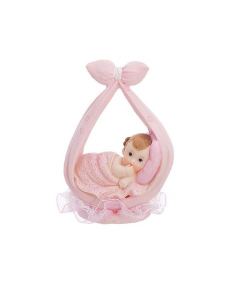 Utroligt sød og flot figur med lille pige i lyserødt klæde