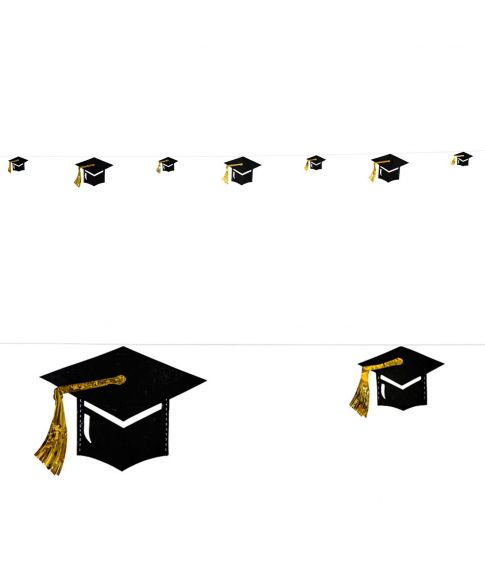 Graduerings hatte i karton med guld folie og guld snor.