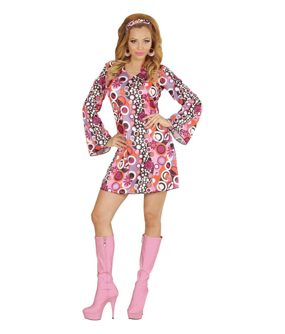 Billig kjole med matchende pandebånd i smart 70er mønster.
