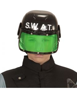 SWAT hjelm i plastik med visir til kostume.