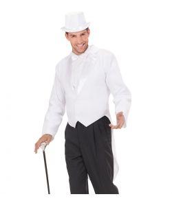 Hvid jakke med svalehale.