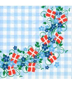 Servietter med blomsterranke og flag