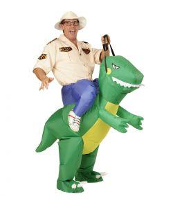 Sjovt oppusteligt kostume med opdagelsesrejsende på en dinosaur
