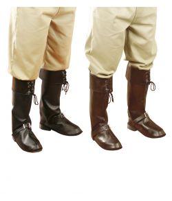 Støvleovertræk i immiteret læder med pyntespænder på fødderne
