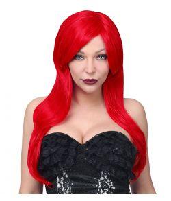Flot rød langhåret paryk