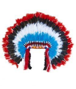 Stor flot indianer fjerprydelse med farvede fjer