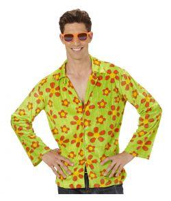 Sjov hippie skjorte i grøn med blomstret mønster