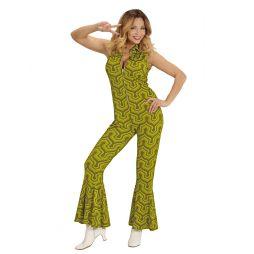 Grønt jumpsuit med groovy wallpaper mønster