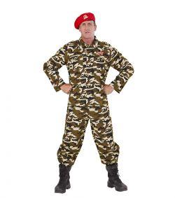 Militær uniform med camouflage print og rød hat