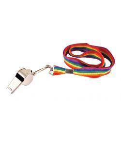 Metal fløjte med regnbue bånd.