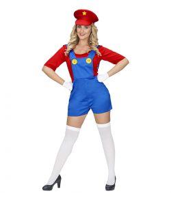 Super Mario kostume med jumpsuit og hat til damer.