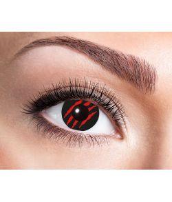 Sorte kontaktlinser med blodige rifter til halloween.